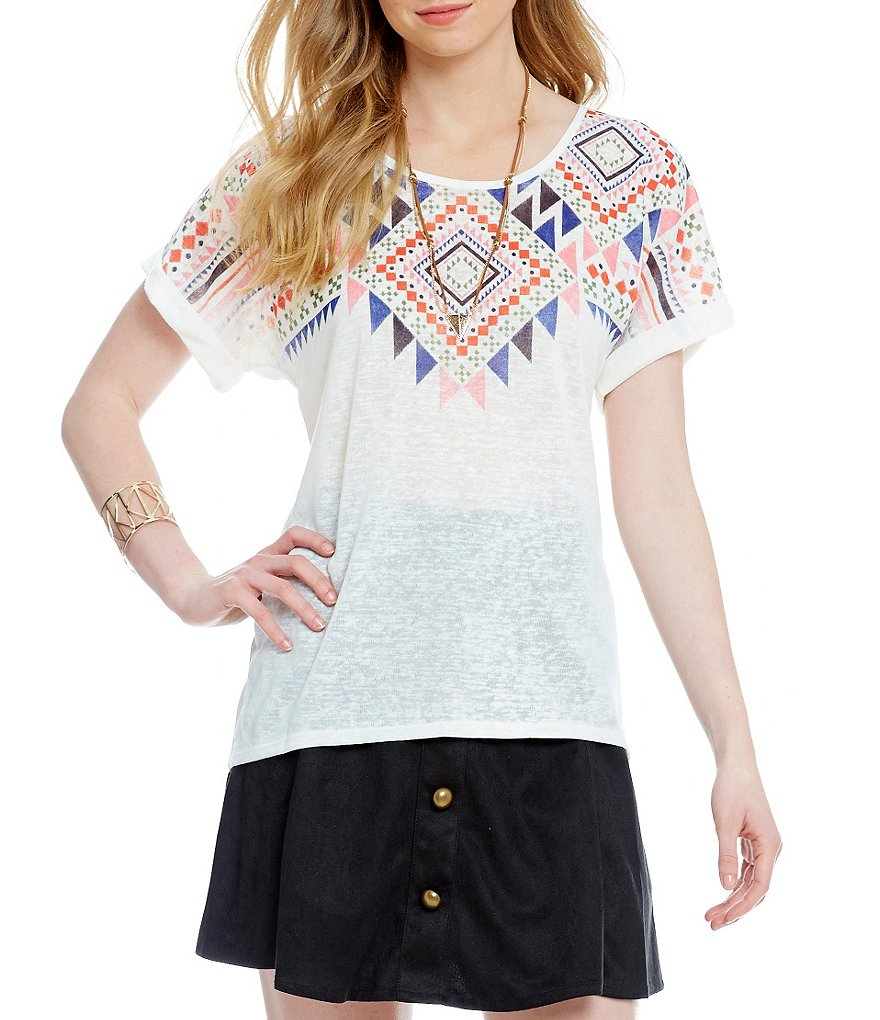 Takara Tribal Print Yoke Necklace Top
