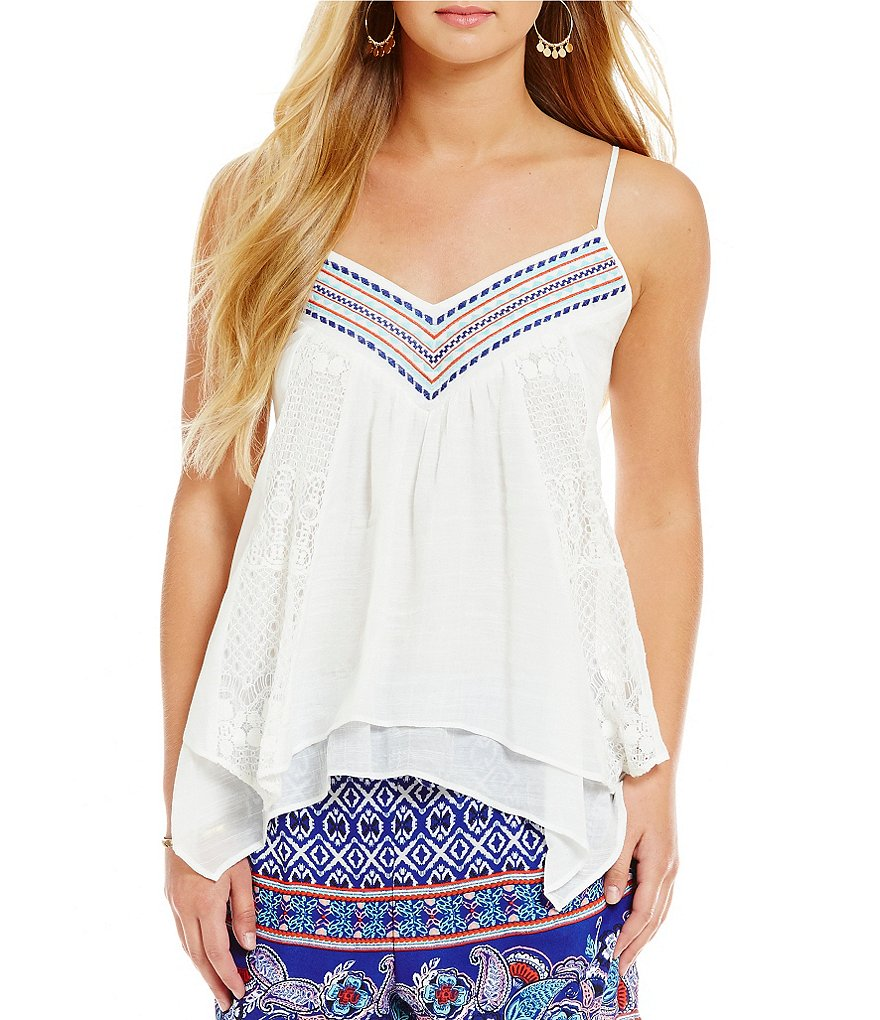 Takara V-Neck Trim Lace-Inset Tank Top