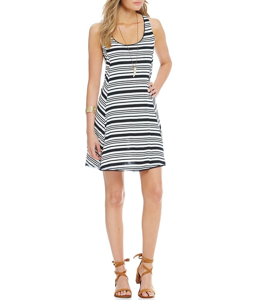 Takara Knit Striped Necklace A-line Dress