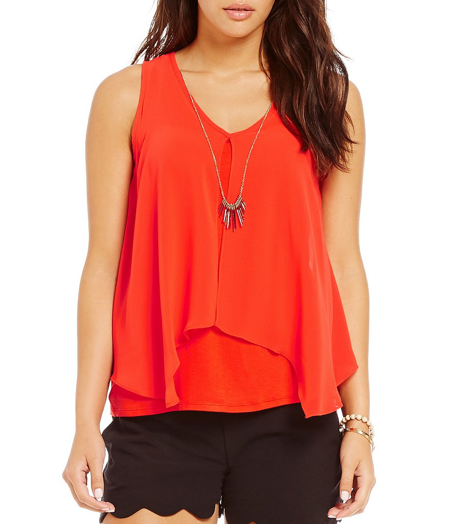 I.N. San Francisco Flyaway-Front Sleeveless Popover Top
