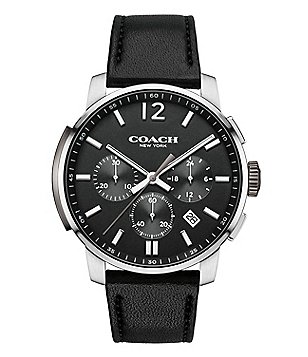 COACH BLEECKER LEATHER STRAP CHRONOGRAPH WATCH