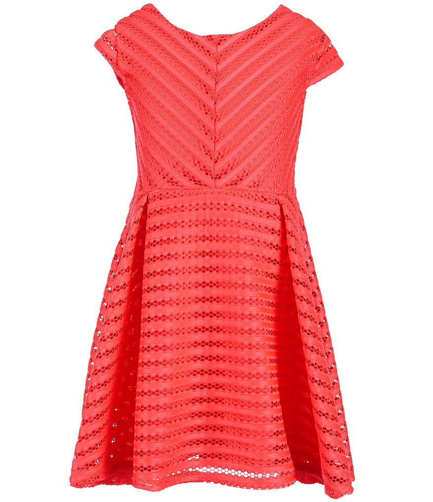 My Michelle Big Girls 7-16 Striped Textured Knit Fit-And-Flare Dress