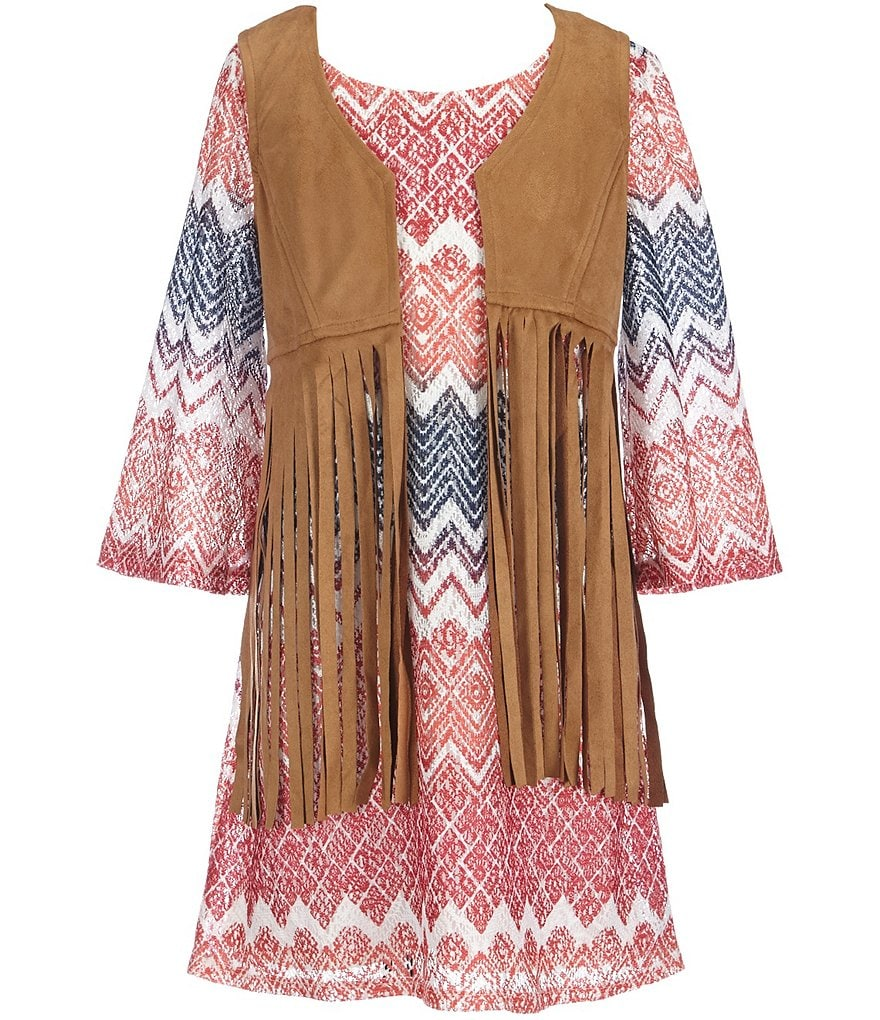 My Michelle Big Girls 7-16 Suede Vest And Chevron-Print Dress Set