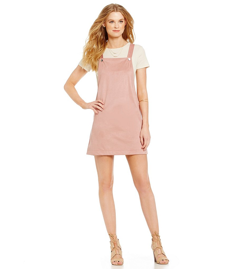 kensie Faux Suede Apron Dress