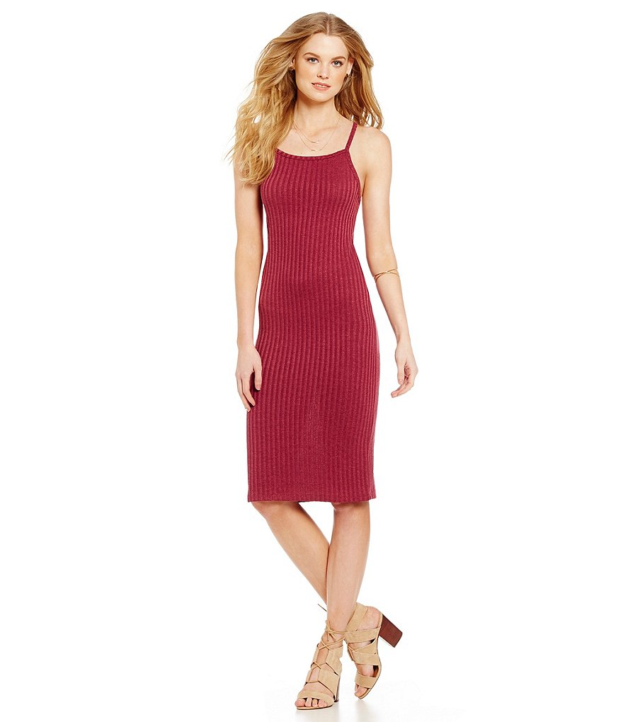kensie Rib Spaghetti Strap Dress