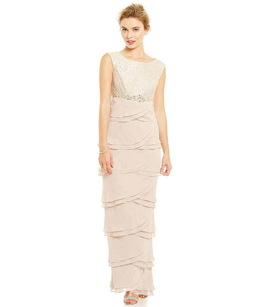 Jessica Howard Beaded Empire Waist Tiered Gown