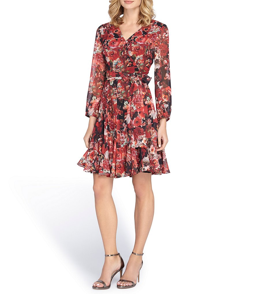 Tahari ASL Floral Chiffon Wrap Dress