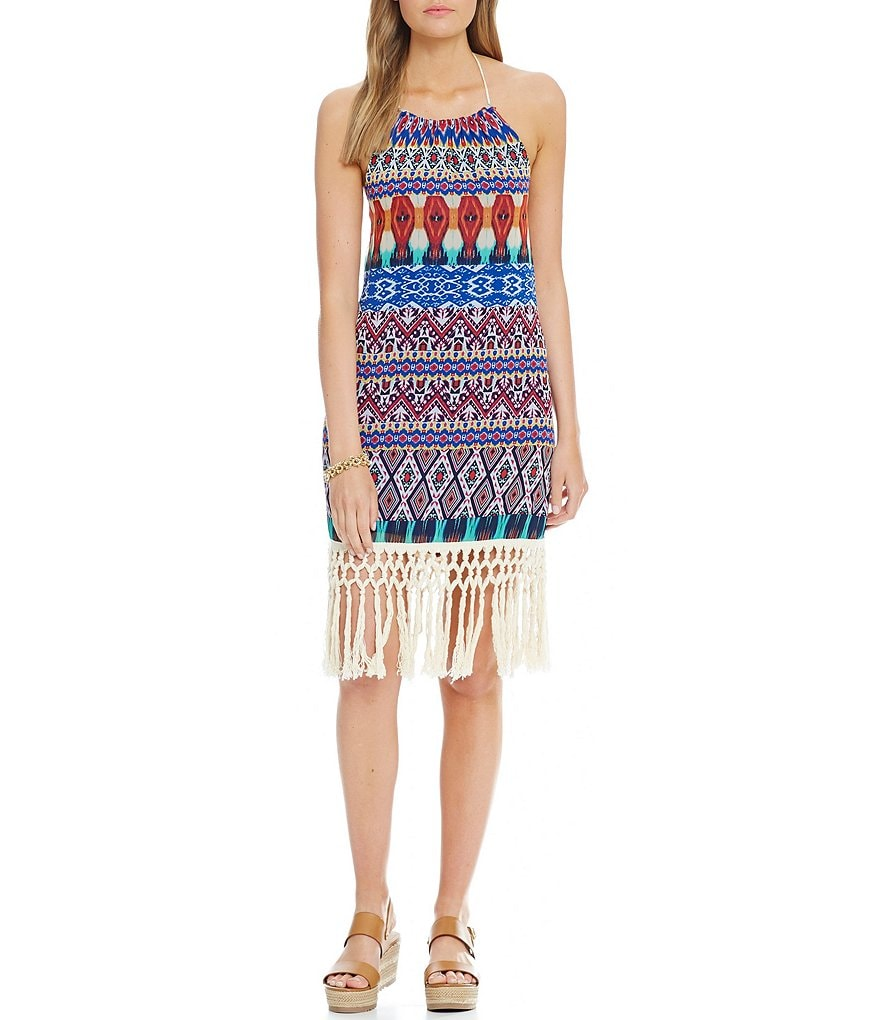 Jodi Kristopher Tassel Trim Hem Printed Dress