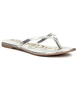 Sam Edelman Oliver Metallic Synthetic Slip On Thong Sandals