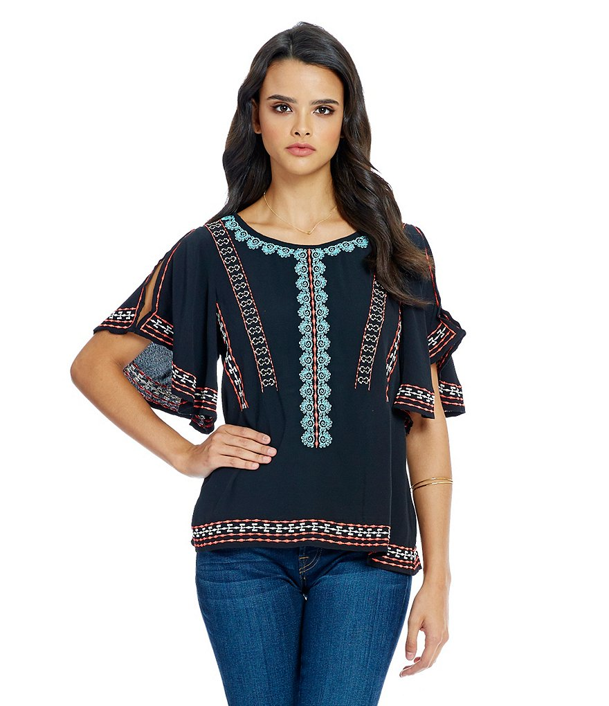 Sugarlips Embroidered Split Sleeve Blouse