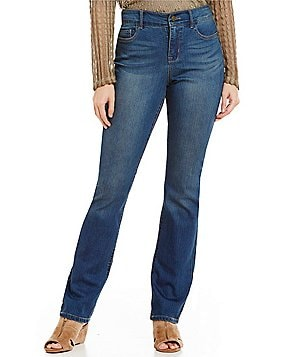 Code Bleu Petite Chelsea Slimming Straight Leg Embroidered Back-Pocket Jeans