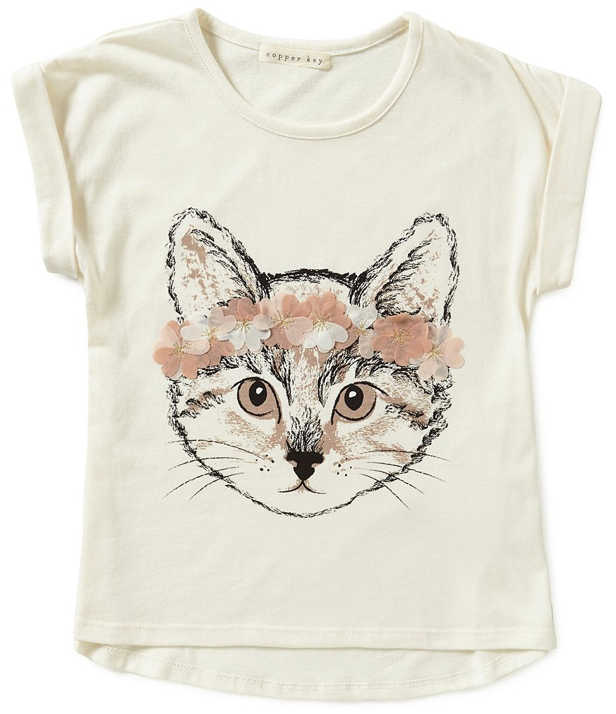 Copper Key Little Girls 4-6X Cat Flower Tee