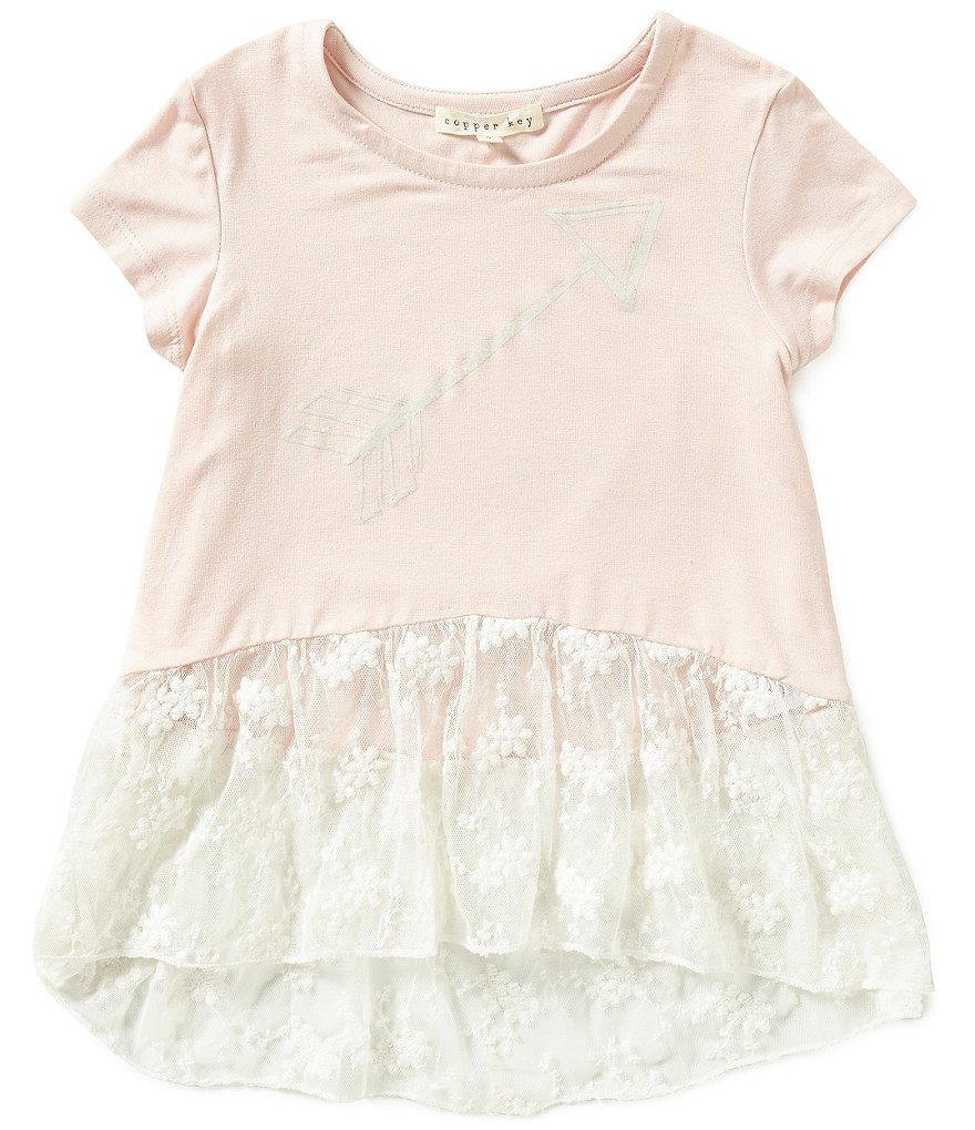 Copper Key Little Girls 4-6X Arrow Screen Print Lace Peplum Hem Tee