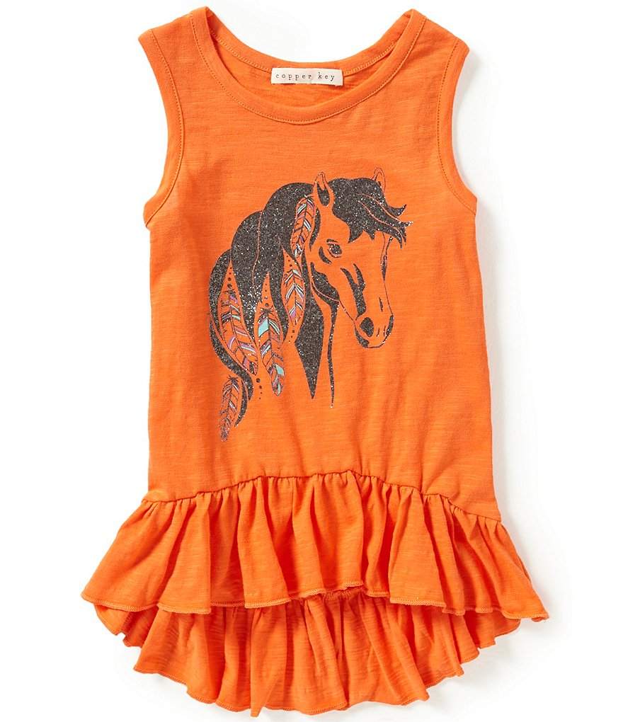 Copper Key Little Girls 4-6X Horse Screen Print High-Low Ruffled Hem Tank