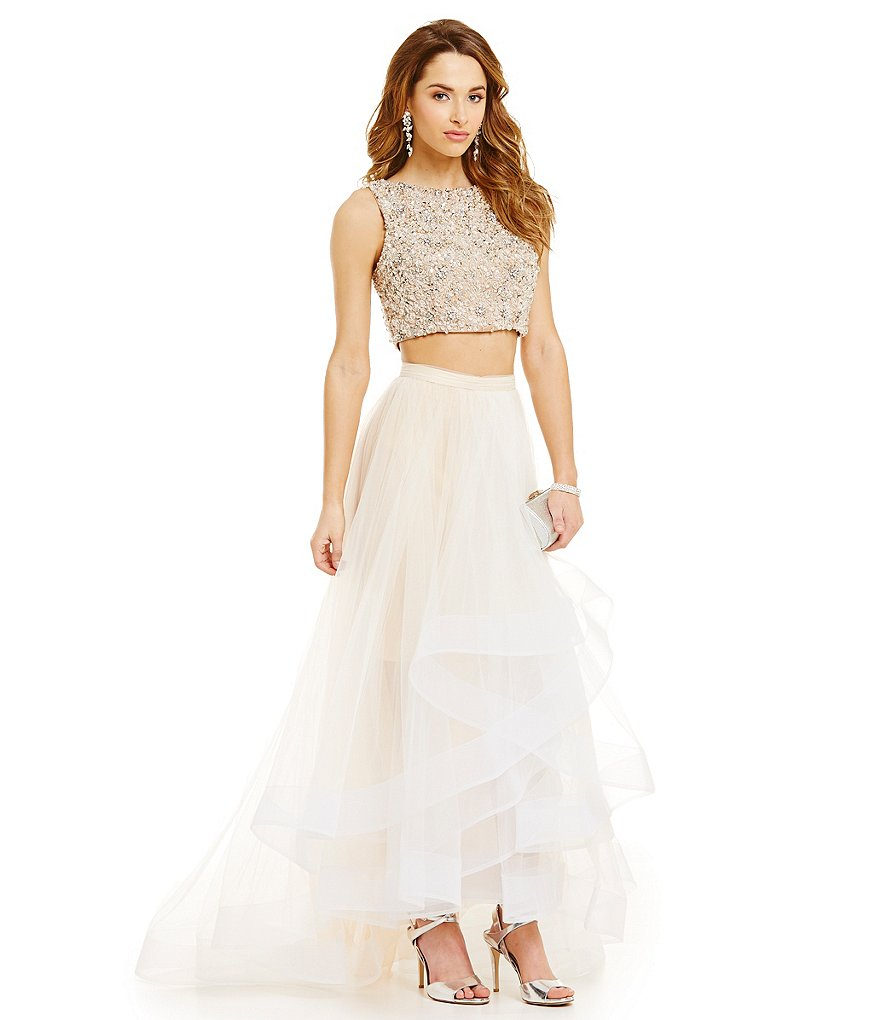 Terani Couture Prom Crystal Beaded Crop-Top Two-Piece Tulle Layered Skirt Gown