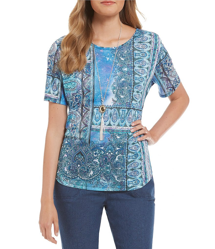 Allison Daley Petite Printed Embellished Wide-Neck Knit Top
