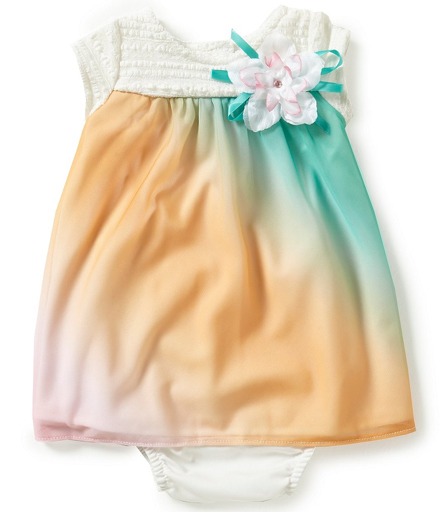 Rare Editions Baby Girls 3-24 Months Lace-Bodice Ombre-Chiffon-Skirted Dress