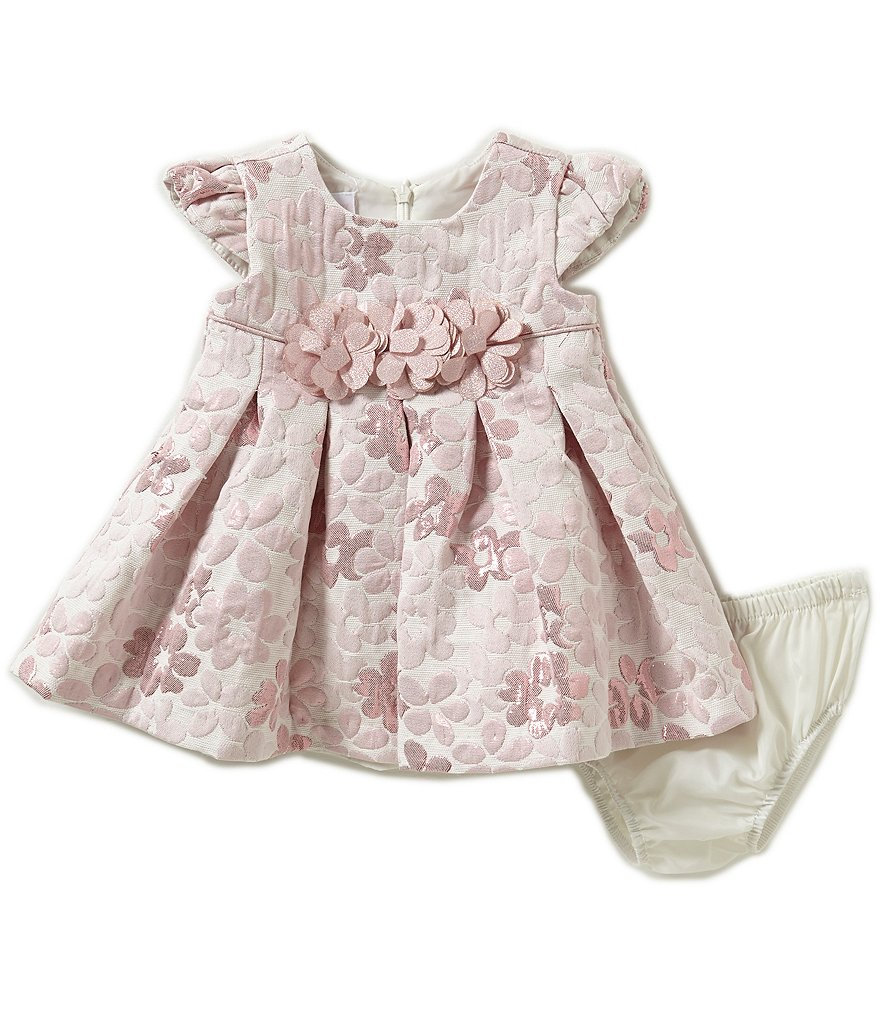 Bonnie Baby Newborn-24 Months Metallic Floral Brocade Jacquard Dress