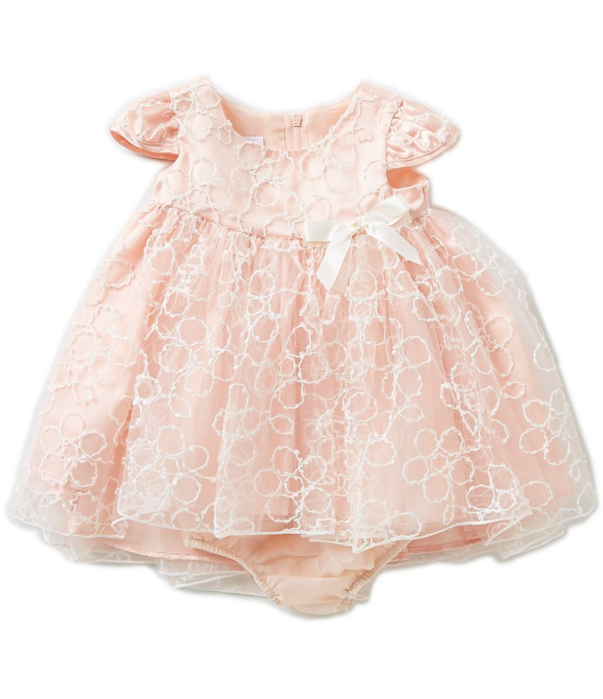 Bonnie Baby Baby Girls Newborn-24 Months Textured Embroidered Tulle Dress