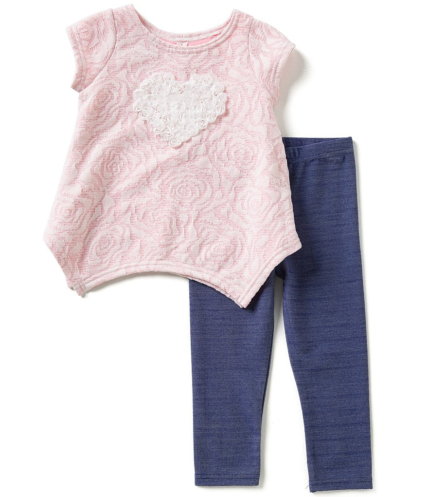 Marmellata Little Girls 2T-6X Heart-Applique Rose-Print Top and Solid Capri Leggings Set