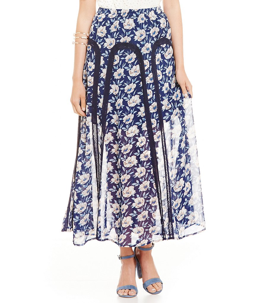 Skies Are Blue Floral Maxi Skirt