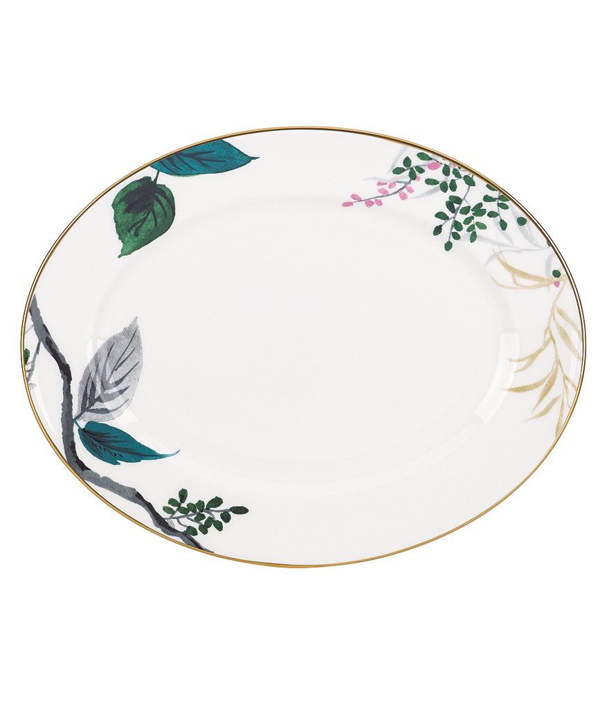 kate spade new york Birch Way Watercolor Floral Bone China Oval Platter
