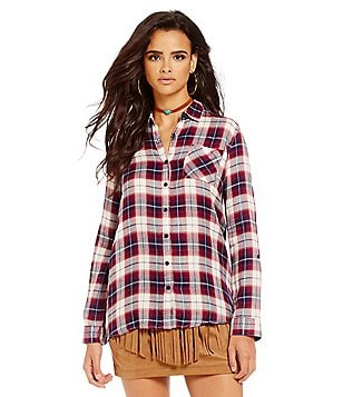 JACK by BB Dakota Fremont Point Collar Long Sleeve Plaid Top