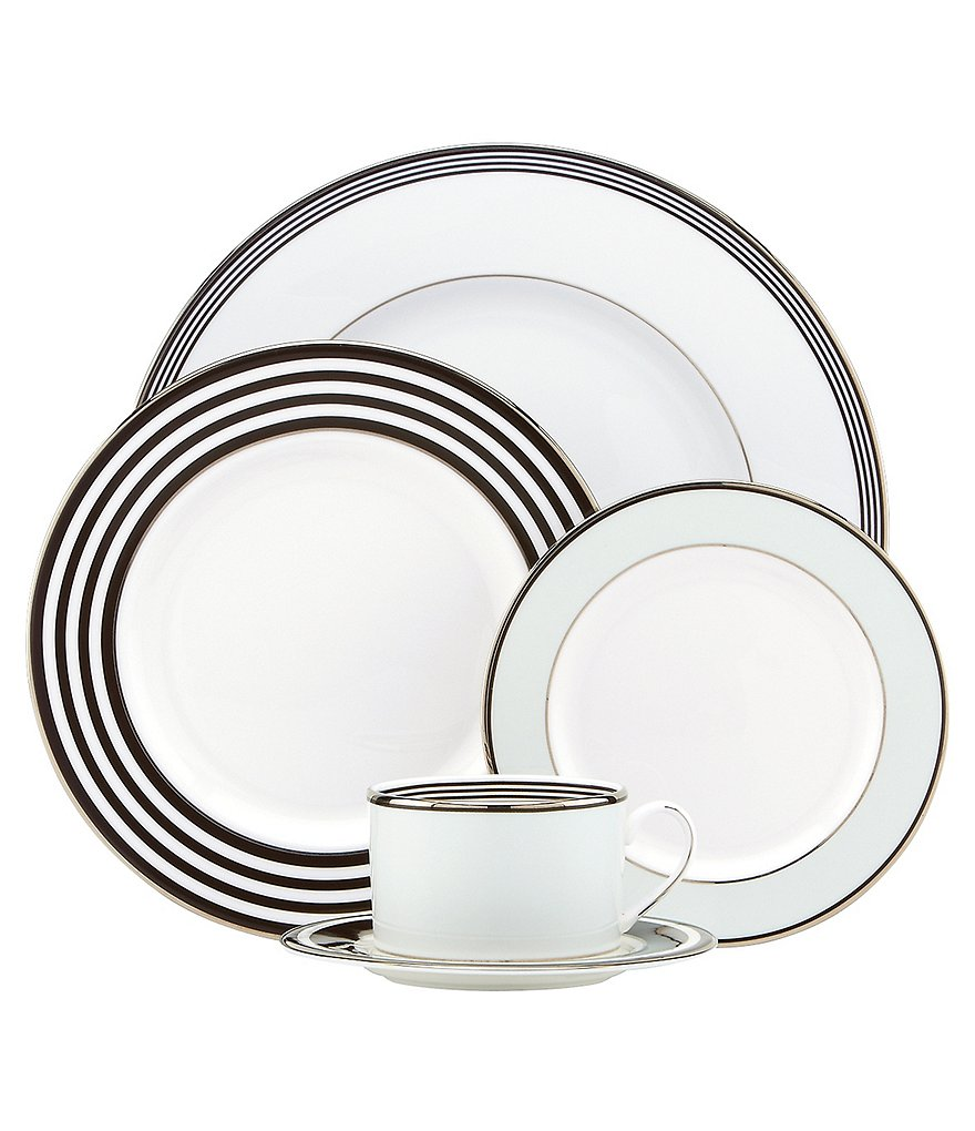 kate spade new york Parker Place Striped Platinum Bone China 5-Piece Place Setting