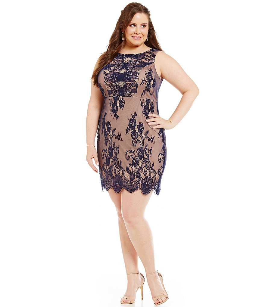 Jodi Kristopher Plus Scalloped-Illusion-Inset-Bodice Lace Sheath Dress