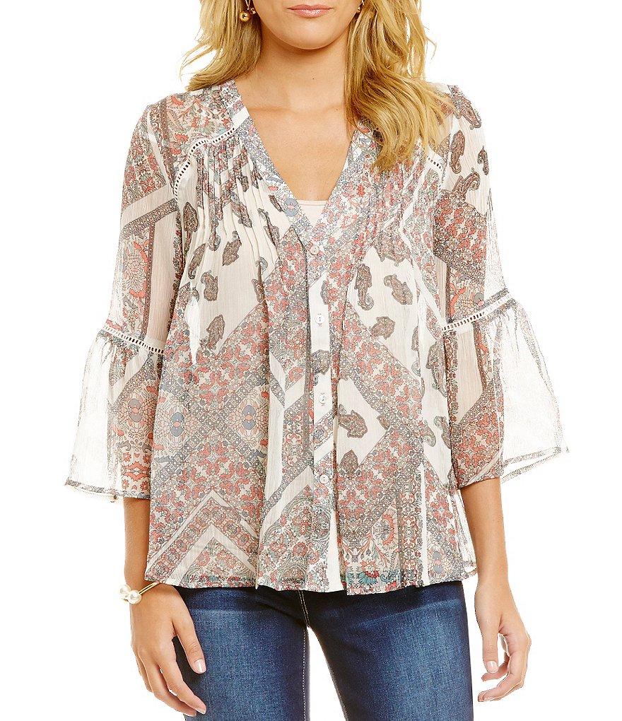 Jessica Simpson Skip Bell-Sleeve Printed Peasant Top