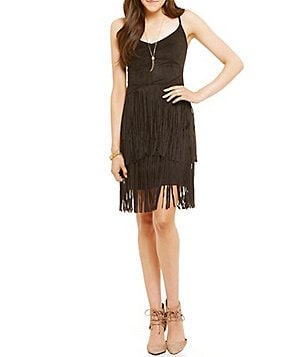 Jessica Simpson Capri Faux-Suede Fringe Dress