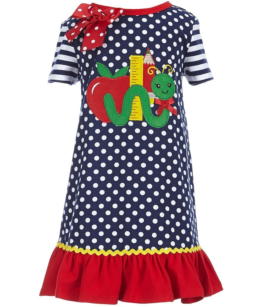 Bonnie Jean Little Girls 2T-6X Back-To-School Polka Dot Cotton Dress