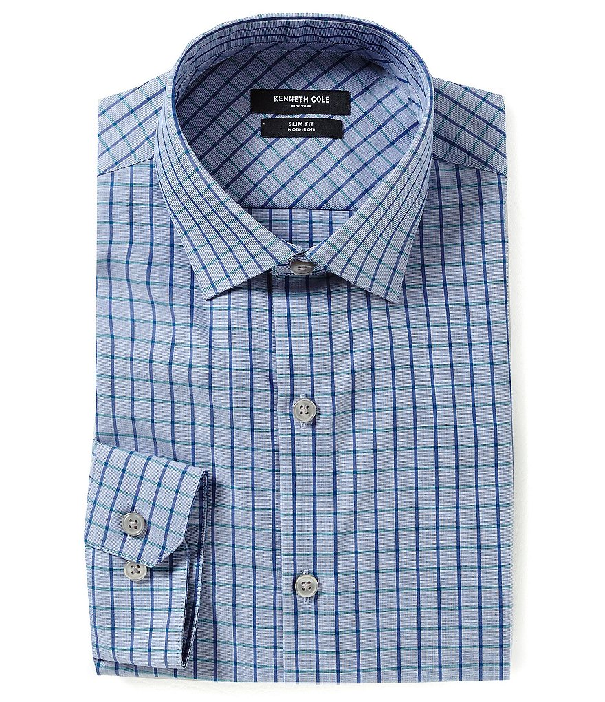 Kenneth Cole New York Non-Iron Slim Fit Spread-Collar Checked Dress Shirt