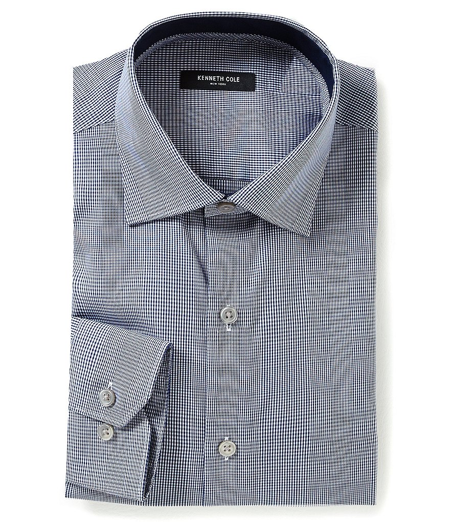 Kenneth Cole New York Non-Iron Regular Full-Fit Spread-Collar Checked Dress Shirt