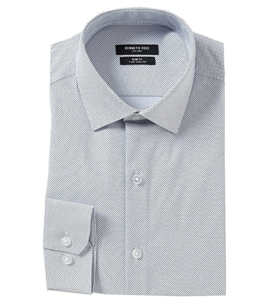 Kenneth Cole New York Non-Iron Slim-Fit Spread-Collar Repeating-Print Dress Shirt