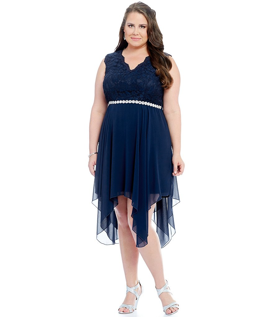 Jodi Kristopher Plus Lace Bodice V-Neck Handkerchief Hem Dress