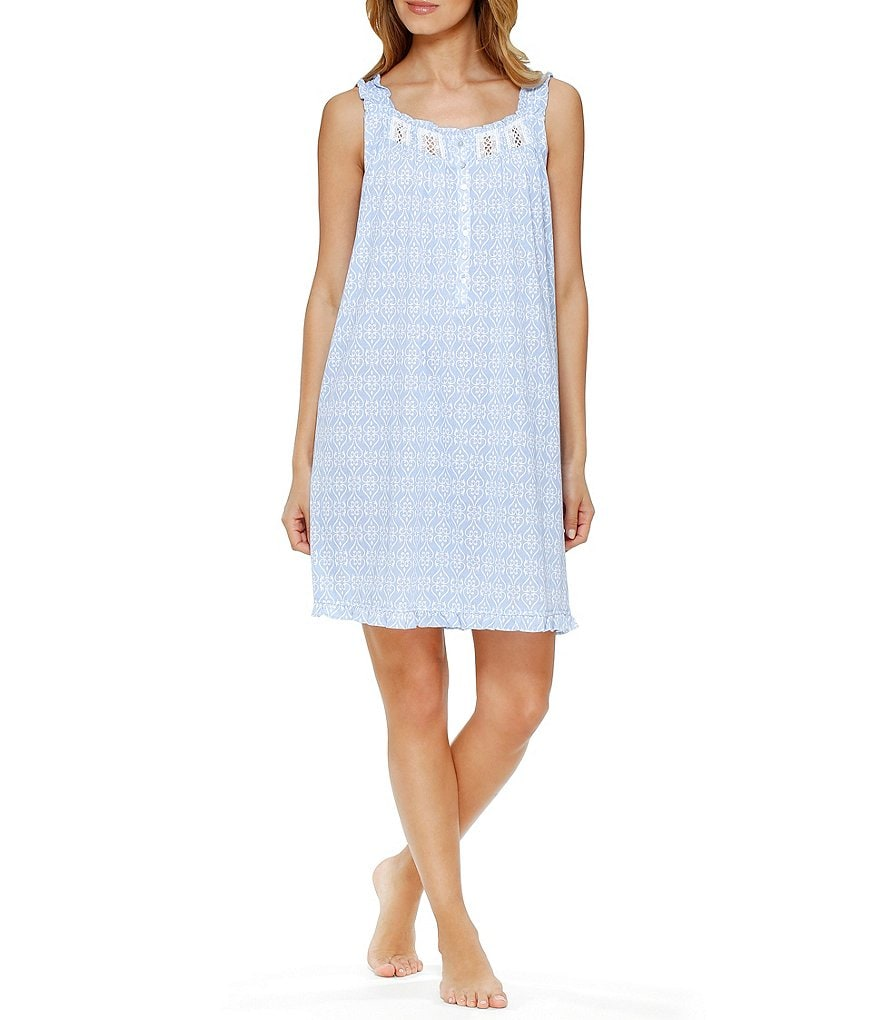 Eileen West Heart-Print Lace Trim Sleeveless Waltz Nightgown