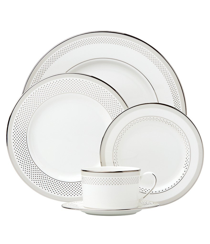 kate spade new york Whitaker Street Dotted & Striped Platinum Bone China 5-Piece Place Setting