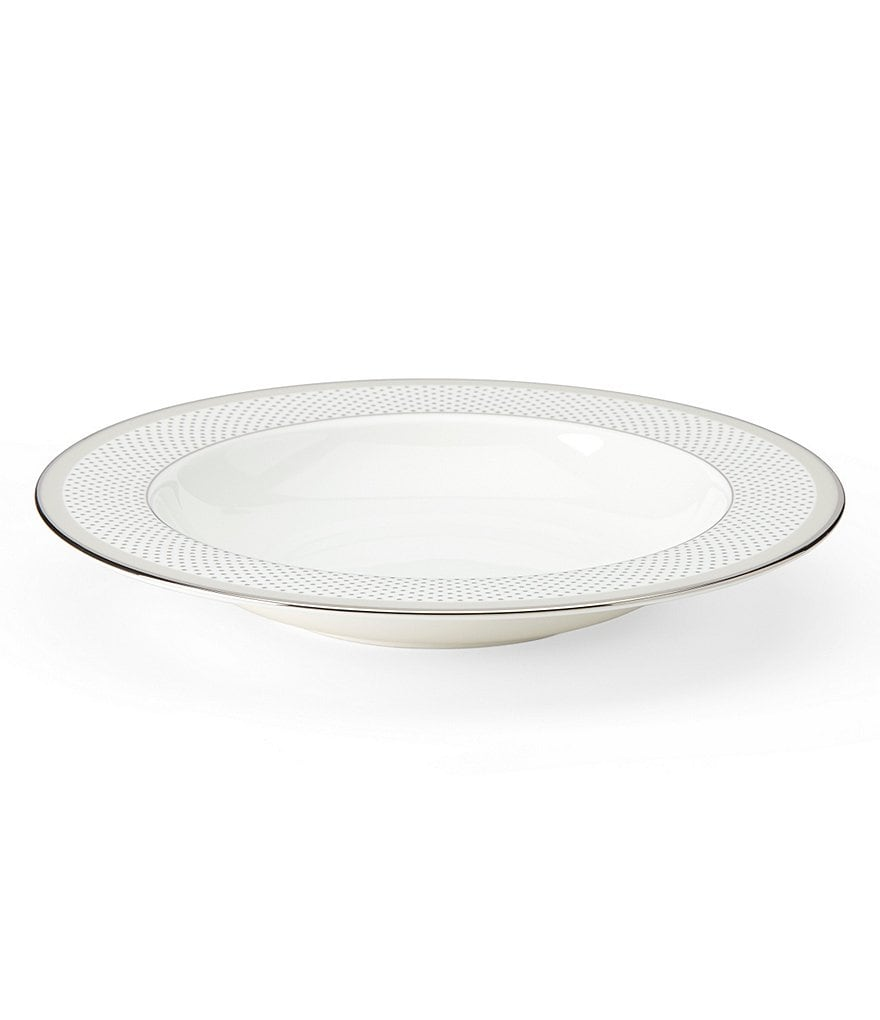 kate spade new york Whitaker Street Dotted & Striped Platinum Bone China Rimmed Soup Bowl