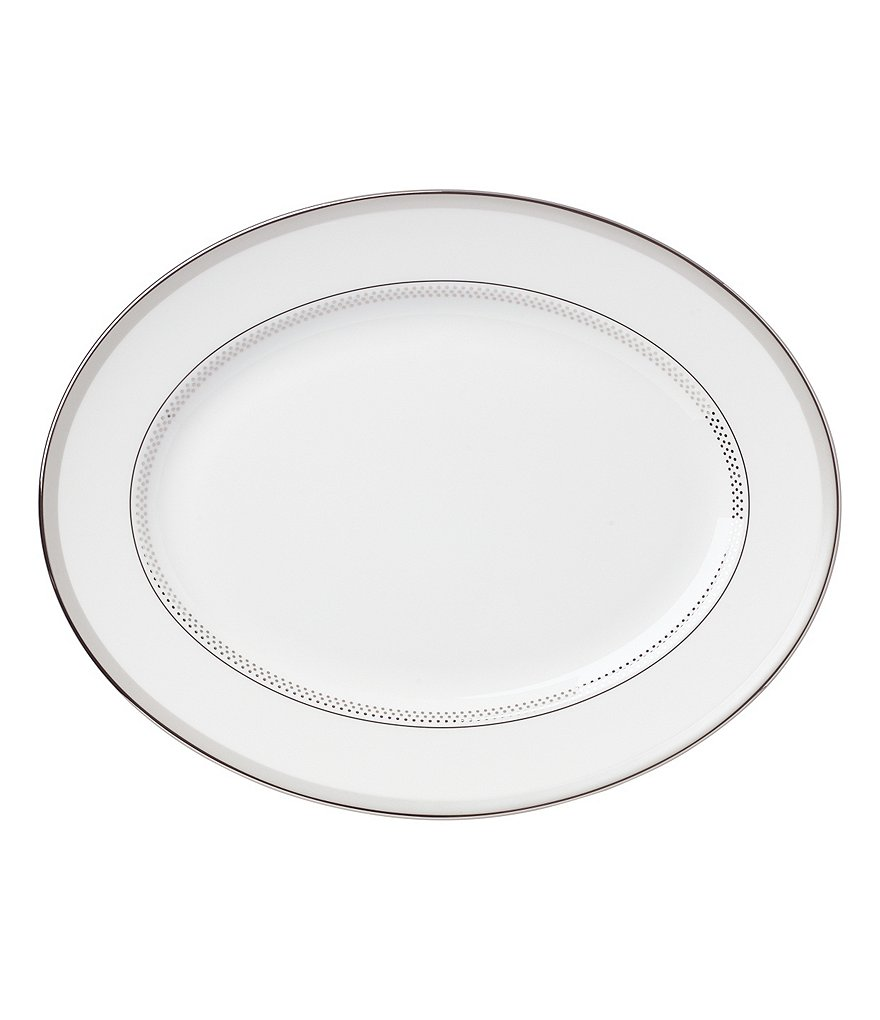 kate spade new york Whitaker Street Dotted & Striped Platinum Bone China Oval Platter