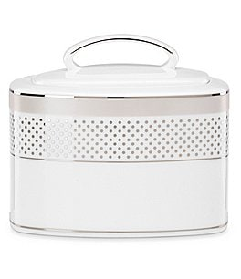 kate spade new york Whitaker Street Dotted & Striped Platinum Bone China Sugar Bowl with Lid Image