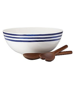 kate spade new york Charlotte Street Striped Porcelain Salad Bowl with Wooden Servers