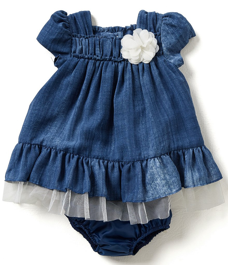 Bonnie Baby Girls Newborn-24 Months Denim Chiffon Dress