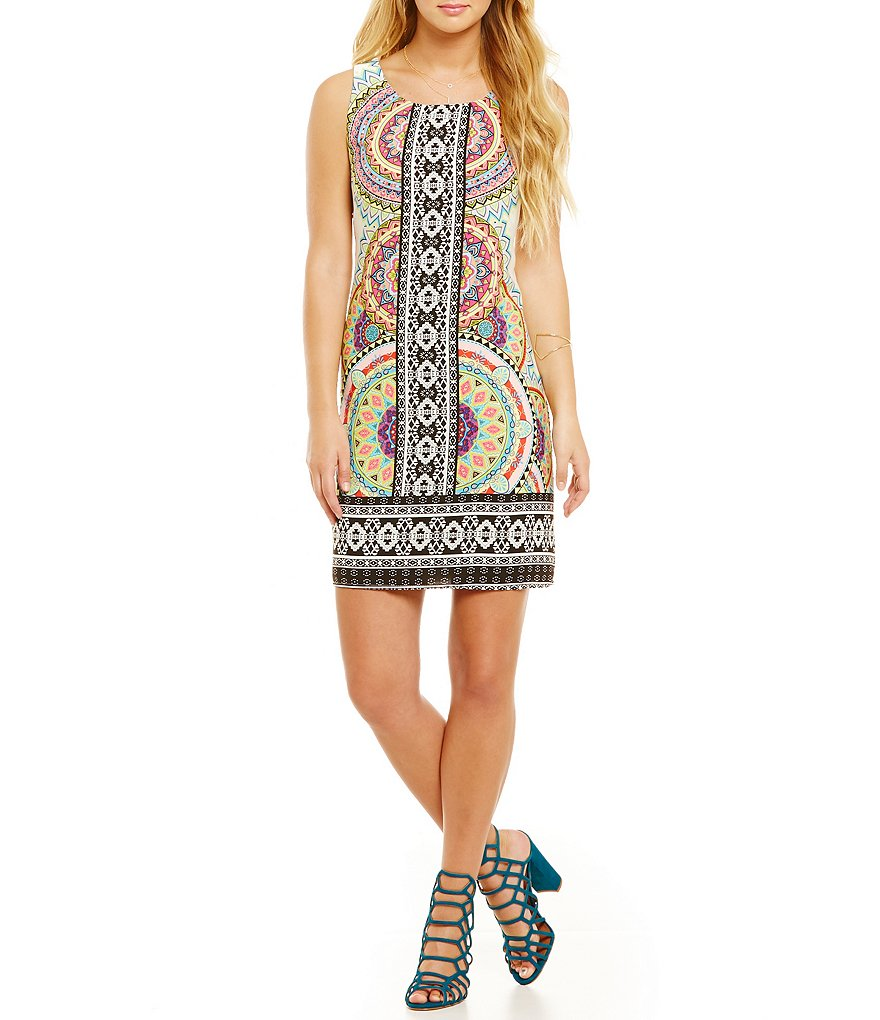 Pink Owl Geometric Border-Print Shift Dress