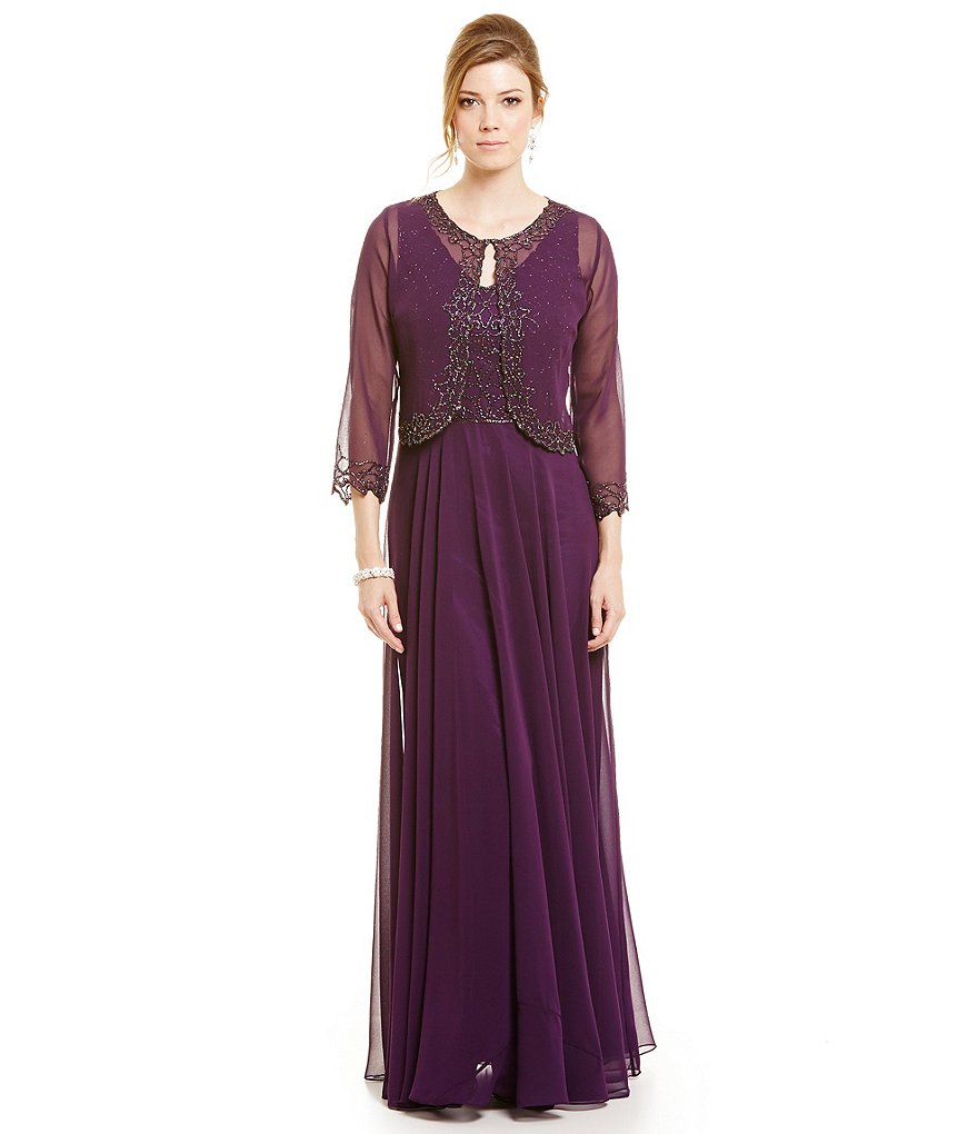 J Kara Beaded Jacket Dress Gown