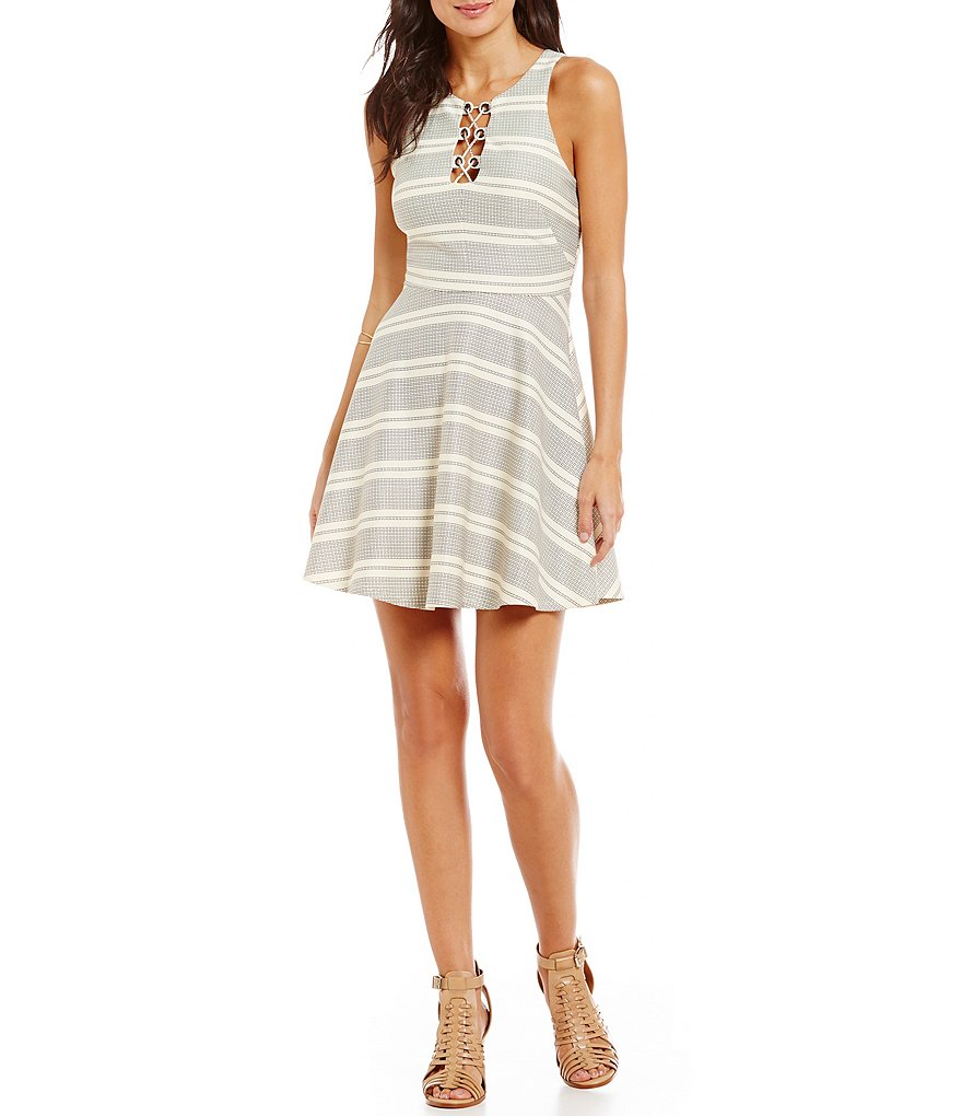 Jodi Kristopher Striped Sleeveless Lace-Up-Front A-Line Dress