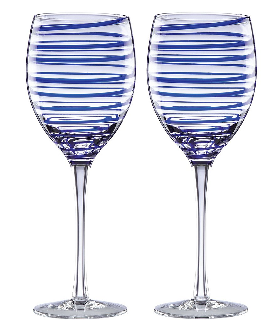 kate spade new york Charlotte Street Spiral Wine Glass Pair