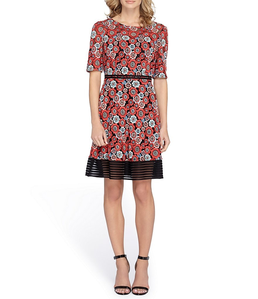 Tahari ASL Embroidered Fit-and-Flare Dress