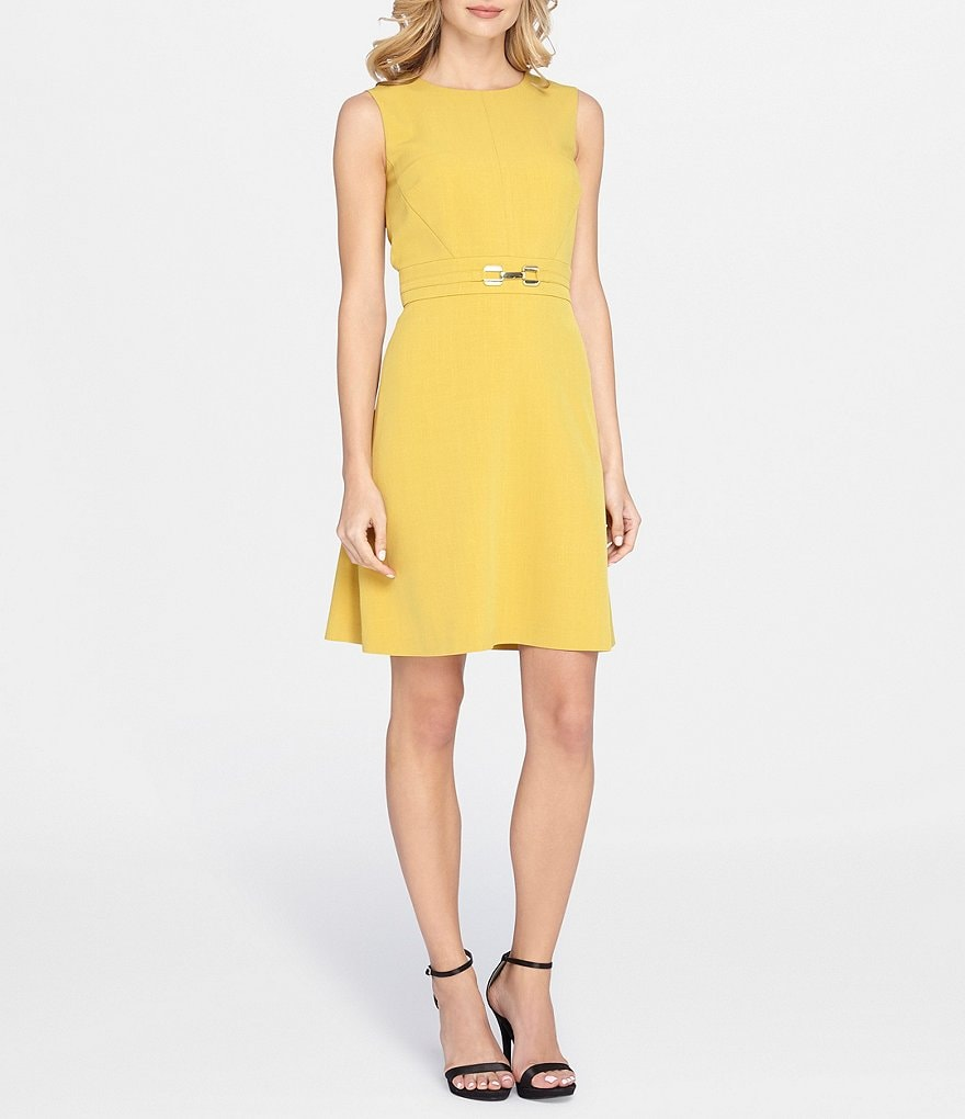 Tahari ASL Belted Fit and Flare Stretch Dress