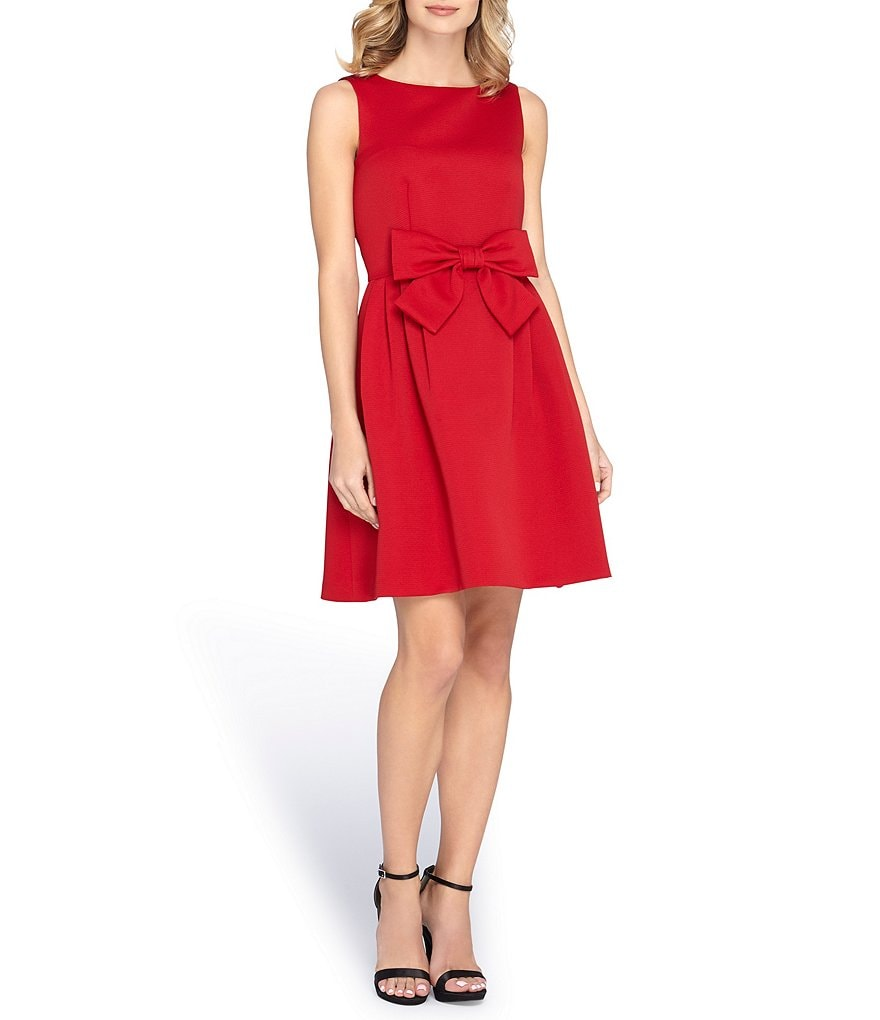 Tahari ASL Bow Front Fit-and-Flare Dress